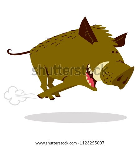 Cute boars or warthog character with acorn. Vector illustration with running wild pig. Forest inhabitant in cartoon flat style. Chinese horoscope personage
