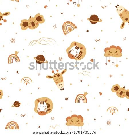 Cute boho animals pattern. Baby animals, rainbows. Boho safari animals. Yellow neutral seamless pattern. Vector illustration. Kids animal print. Yellow zibra koala rainbow, crown, stars, giraffe face.