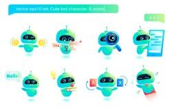 Cute bot character set. Chatbot greets. Online consultation. Vector cartoon illustration