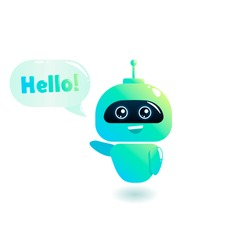 Cute bot say users Hello. Chatbot greets. Online consultation. Vector cartoon illustration