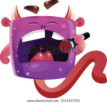 cute boxy purple monster