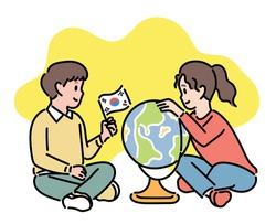 Cute boy and girl are looking at the globe. hand drawn style vector design illustrations.