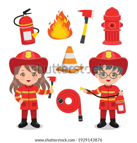 Cute boy and girl in fire fighter uniform with fire emergency clip art set. Flat vector design isolated.
