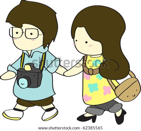cartoon girl walking away. hairstyles cartoon girl and oy