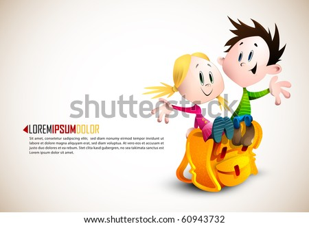 Cute Boy and Girl sitting on School Backpack | Happy Children | Detailed vector illustration with space for text | All layers named accordingly