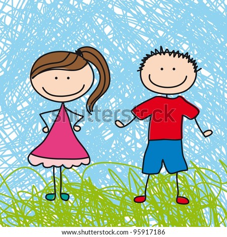 cute boy and girl sketch background. vector illustration