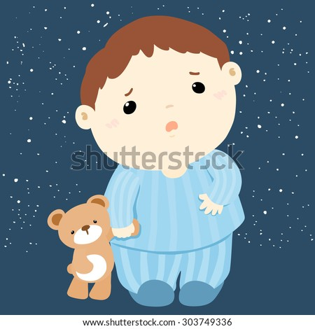 cute boy and his doll sleepless