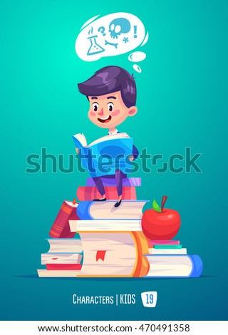 Cute Boy. Back to School isolated cartoon character with books and apple on blue background. Great illustration for a school books and more. VECTOR stock illustration.