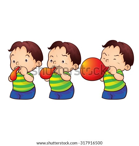 cute boy blow up balloon step by step Foto stock ©