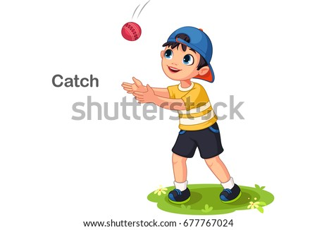 Cute boy catching a ball vector illustration Stock foto ©