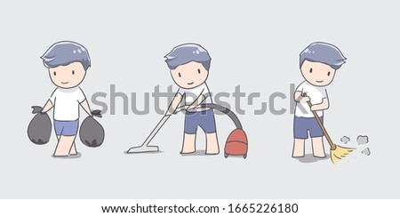 cute boy cleaning doing