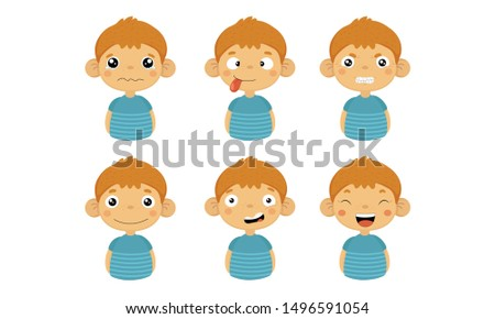 Cute Boy Facial Emotions Set, Kids Face with Different Expressions Vector Illustration