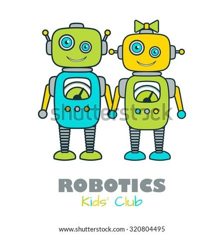 cute boy   girl robot cartoon