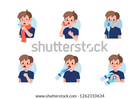 Cute boy have asthma and flu disease.  Flat cartoon vector illustration isolated on white background.
