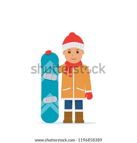 5ff320b9fab Cute boy hold snowboard. Winter sport