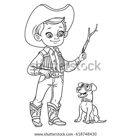 cute boy in cowboy costume play