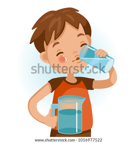 Cute boy in red shirt holding glass of kid drinking water. Emotionally be smile. Healthy concepts and crowth in child cutrition. Vector Illustration Isolated on White background.