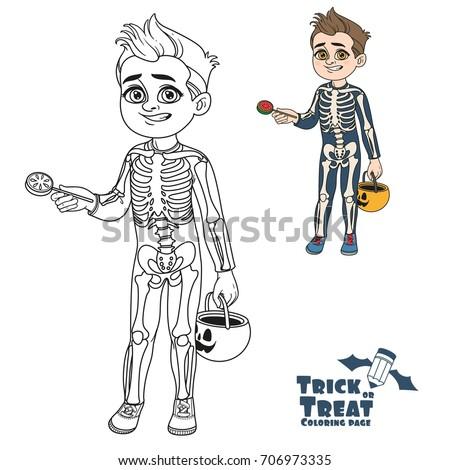 cute boy in skeleton costume