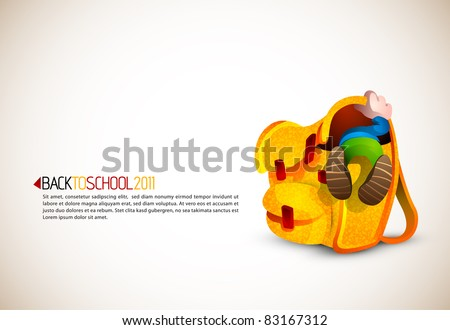 Cute Boy Looking for Something in his Huge School Backpack | Back To School Series | Detailed vector illustration with space for text | All layers named accordingly