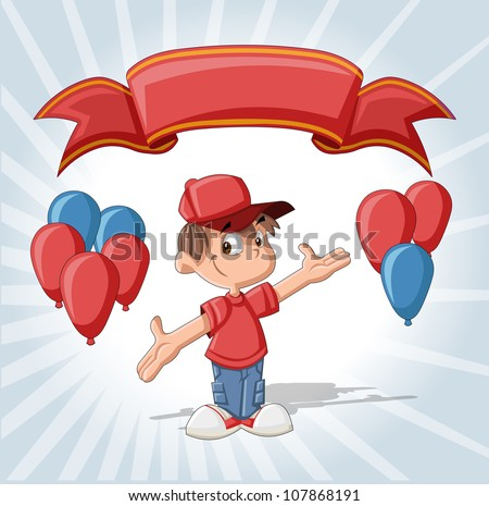 Cute boy on a birthday party with balloons and red ribbon.