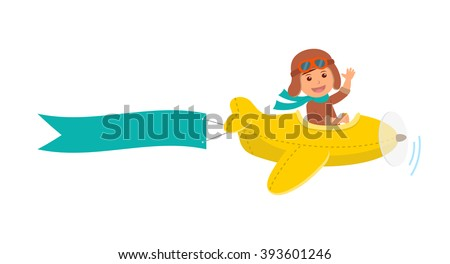 cute boy pilot flies on a