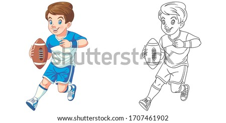 Cute boy playing rugby. Coloring page and colorful clipart character. Cartoon design for t shirt print, icon, logo, label, patch or sticker. Vector illustration.