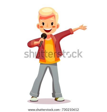 Cute boy sings a song into the microphone. Talented child involved in the competition, performs in concert, sings karaoke. Funny cartoon character. Isolated on white background. Vector illustration.