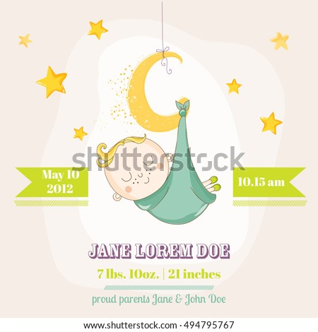Cute Boy Sleeping on a Star, Baby Shower or Arrival Card, in vector