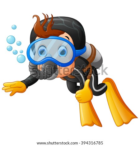 cute boy snorkeling