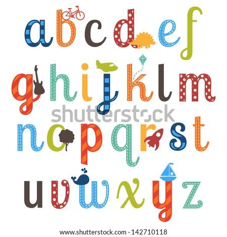 cute boy themed alphabet vector