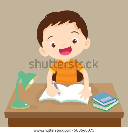 Cute boy writing and thinking be happy. Vector illustration of a little boy writing at his desk.Caucasian student boy at his desk writing for homework.