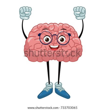 Cute brain cartoon with hands up