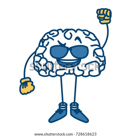 Cute brain with sunglasses cartoon