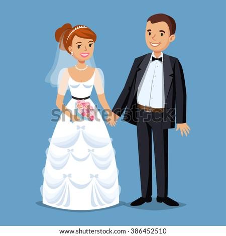 Cute Bride and groom. Cartoon Wedding people couple. Vector illustration ストックフォト ©