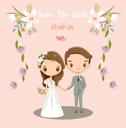 cute bride and groom for wedding invitations card, vector isolated with background