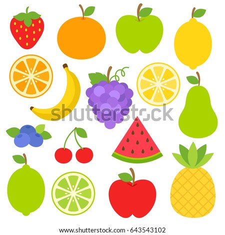 Cute bright colors of fruits vector collections. Set of fruits are apple, lemon, banana, orange, pear, pineapple, grapes, cherries, strawberry, and blueberries. Available in eps10. #643543102
