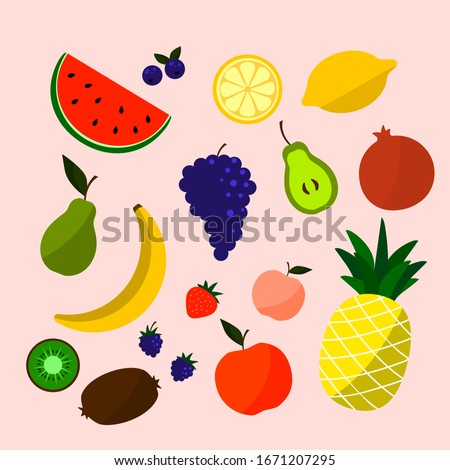 Cute bright colors of fruits vector collections. Vector Colorful Food Set. Fruit icons Summer Collection