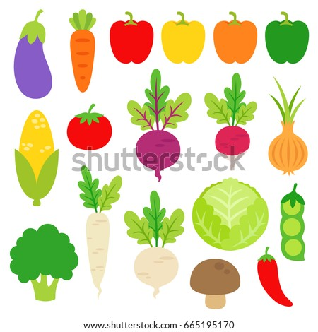 Cute bright colors of vegetables collection in vector EPS 10. Set of veggies are eggplant, carrot, paprika, chili pepper, corn, tomato, radish, beet, broccoli, onion, peas, cabbage, and mushroom.