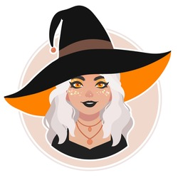 cute bright girl in witch hat