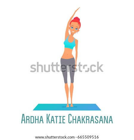 cute bright girl performs yoga