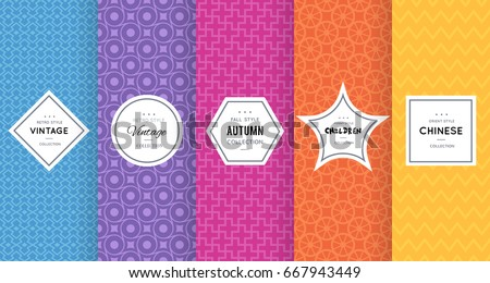 Shutterstock Cute bright seamless pattern background. Vector illustration bright design. Abstract spring floral frame. Stylish decorative label set. Flower, heart ornament. Bright summer pattern
