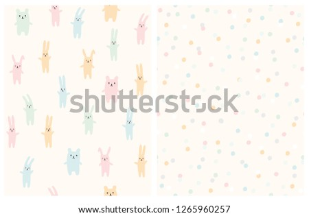 Cute Bright Toy and Dots Vector Patterns. Light Cream Background. Pastel Color Bunnies and Teddy Bear Toys. Delicate Round Shape Falling Confetti. Pink, Blue, Yellow and Green Toys and Dots.Lovely Art