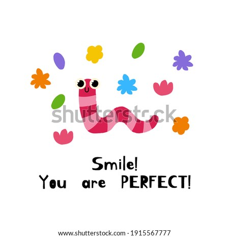 Cute bright worm. Summer vector postcards. Illustration with funny worm and motivation inscription . The concept of summer holiday. Image for posters, and cards. Hand draw cartoon insects Foto stock ©