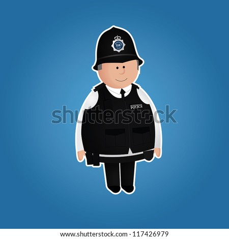 Cute british police officer character in everyday uniform. White border and blue background can be easily removed. EPS 10 file.