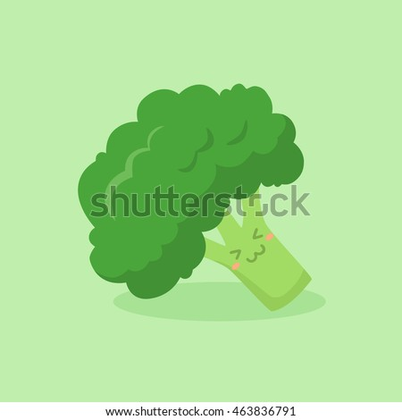 Cute Broccoli Vegetable vector illustration mascot isolated on yellow background.