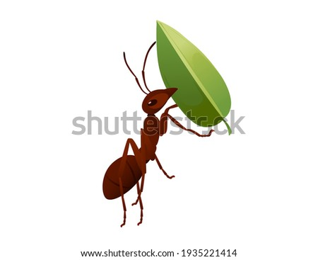 cute brown ant holding a green