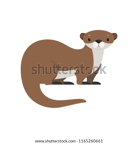 Cute brown otter funny animal character vector Illustration on a white background