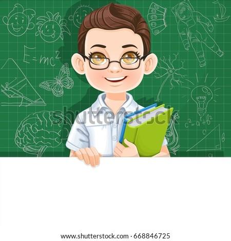 cute brunette boy with school