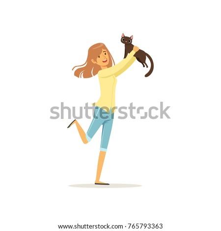 cute brunette girl holding