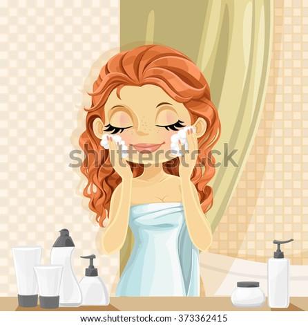 cute brunette girl washes